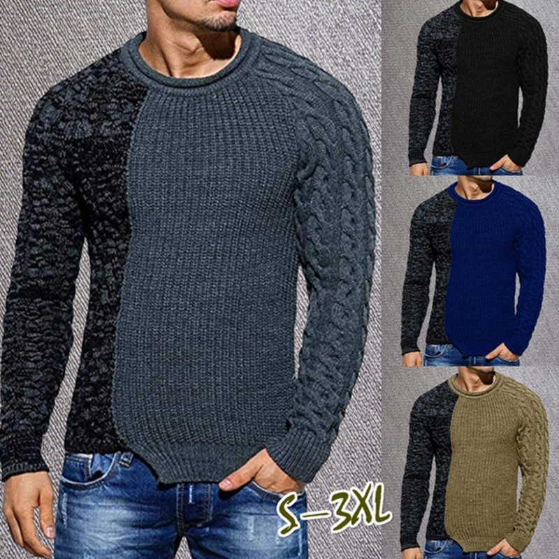 2021 cross border hot autumn and winter new leisure men's sweater low Crew Neck Sweater Pullover aliexpress crew neck linen flower color sweater men s pullover knitted sweater men s wear