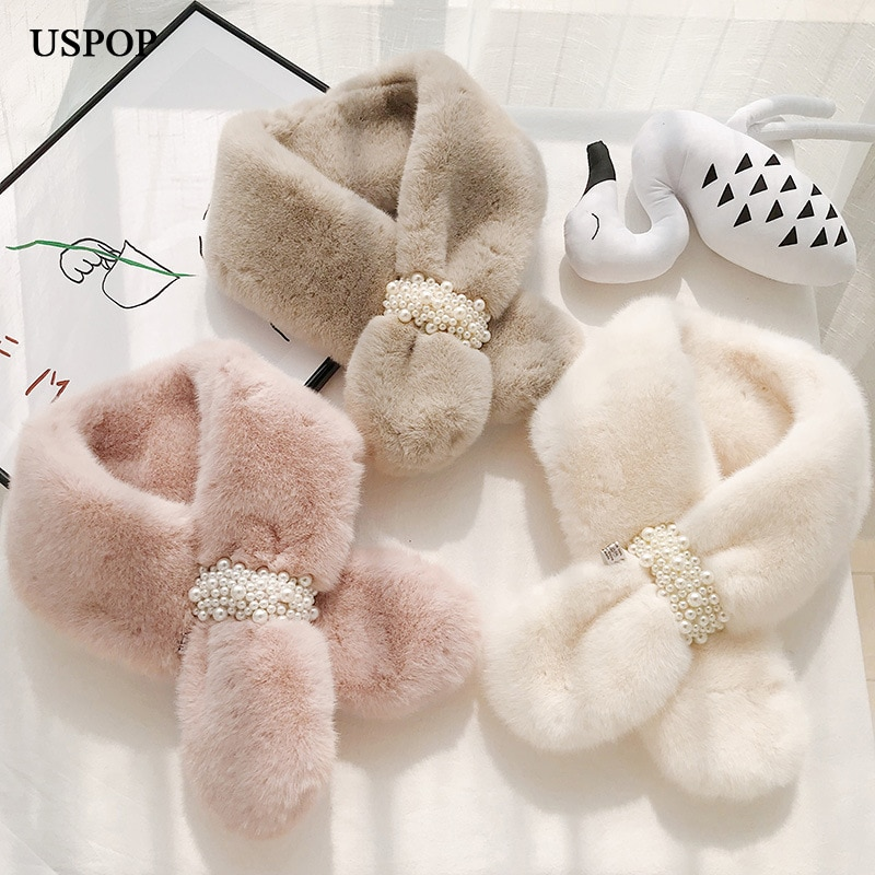 USPOP Winter scarf  pearl buckle women scarves thickened  faux fur ring style scarf faux pearl espadrille flatform sliders