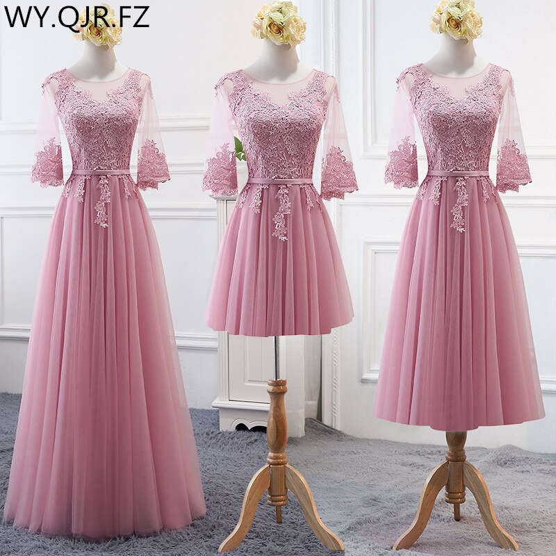 MNZ-17D#Embroidered Pale Mauve Bridesmaid's Dresses Long Lace up Middle sleeve Marriage Sister Chris