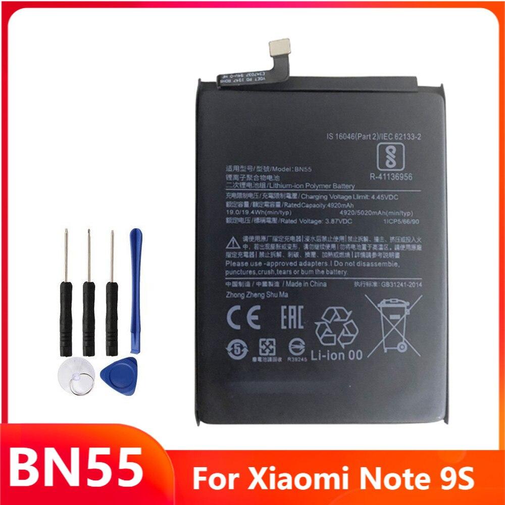 Сменный аккумулятор для телефона BN55 для Xiaomi Note 9S Note9S, аккумуляторные батареи с бесплатными инструментами