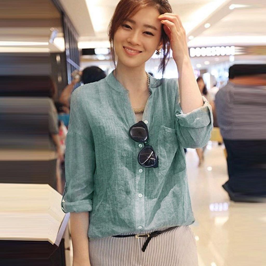 Casual Camisa de manga larga para mujer primavera señoras Stand Collor Lino camisas de color liso Casual Blusa de gasa femenina Bluzka # LR1