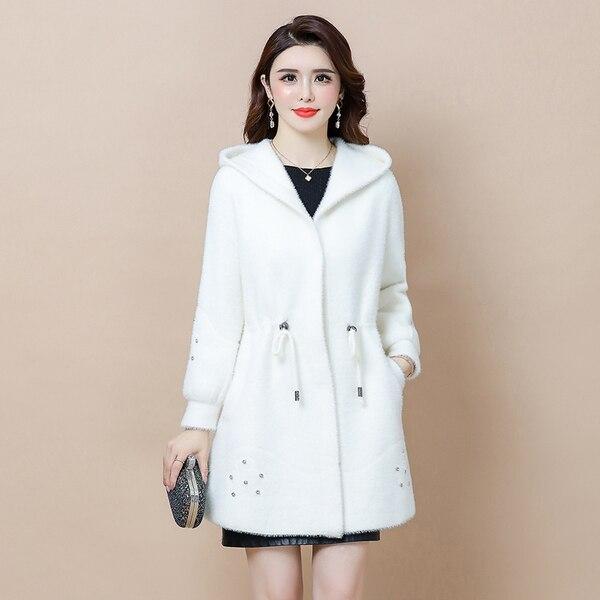 Abrigo informal WYWAN M-4XL de manga larga con capucha para otoño negro con cremallera de talla grande 5XL abrigo largo de terciopelo para mujer