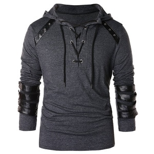 Men's new style casual personality long-sleeved hooded leather T-shirt fit with the daily European and American sizes