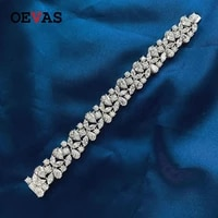 oevas 100 925 sterling silver sparkling full high carbon diamond bracelet for women luxury wedding party bridal fine jewelry