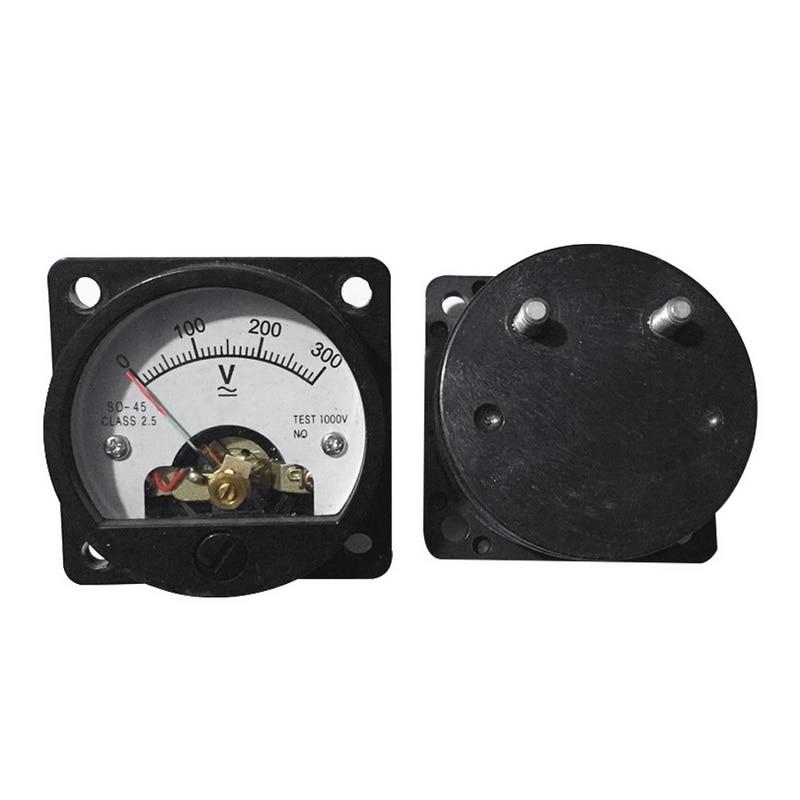 Voltímetro analógico so-45 ac 0-300v mini voltímetro analógico redondo analógico do painel do seletor da tensão