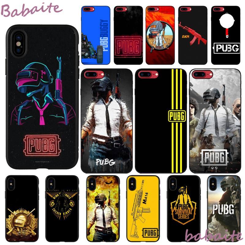 Carcasa de moda Babaite pubg, carcasa negra suave para teléfono iPhone 8 7 6 6S Plus X XS MAX 5 5S SE XR 11 11pro promax