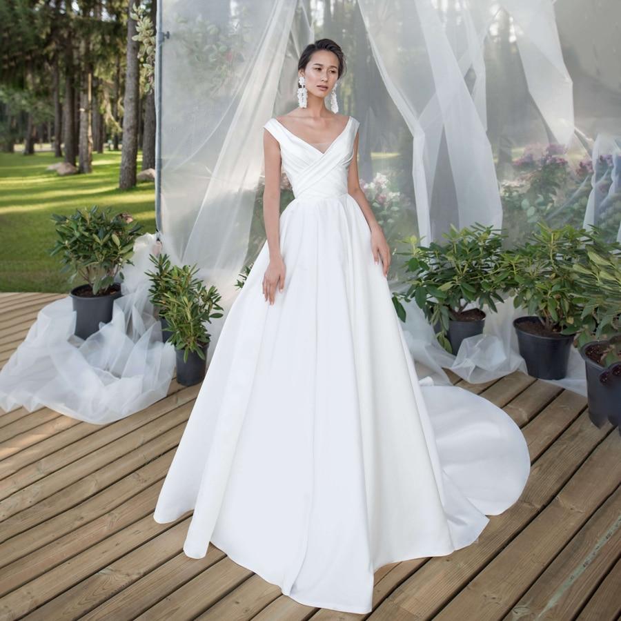 Vestido de novia entrecruzado con cuello en V, satinado mate, estilo sencillo,...