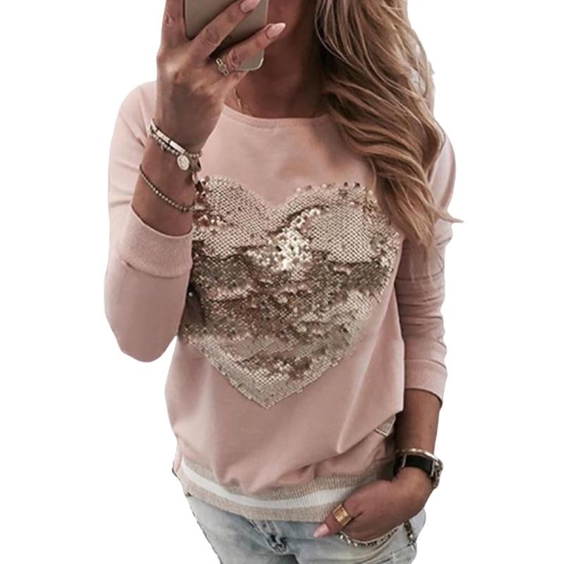 Spring Pink Fashion Sequined O Neck Long Sleeve Harajuku Women T-shirt Ladies Korean Casual Tops Tee Femme Clothing 2020 SJ5701M