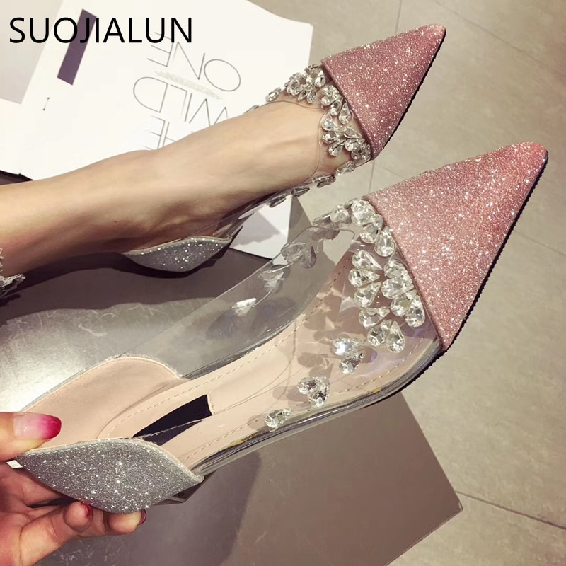 SUOJIALUN Women's Pointed Toe Flat Shoes Fashion Brand Casual Rhinestone Low Heel Flat Shoes Slip On Ballet Flats Woman Loafers animal print flat shoes women plus size slip on loafers point toe snake shoes casual ballet flats comfort driving shoes woman