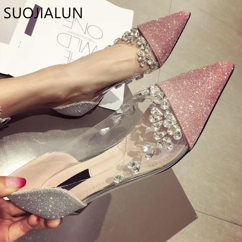 SUOJIALUN-حذاء مسطح نسائي بمقدمة مدببة ، حذاء باليه مسطح بكعب منخفض ، غير رسمي ، مرصع بأحجار الراين