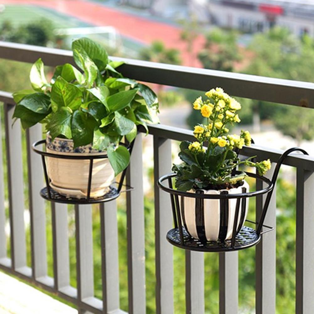 Plante fleur balcon jardin bonsaï Pot fer support Pot de fleurs support crochet support Anti-rouille Pot de fleurs support crochet support suspendu