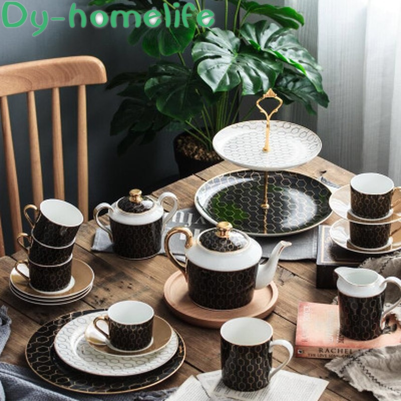 European Geometric Pattern Black and White Ceramic Coffee Tea Set Double Fruit Plate Western Food Plate Set Household Bone China