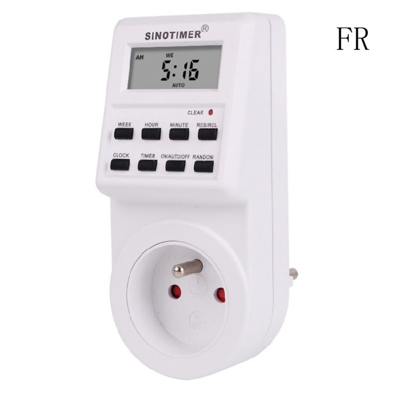 Enchufe temporizador Digital 220/110V semanal programable AU/BR/UE/FR/REINO UNIDO/EE. UU.