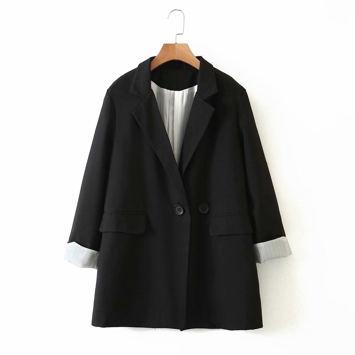 ZXQJ женский минималистичный черный блейзер с карманами 2021 осень модная женская элегантная свободная шикарная куртка женская толстая верхня...