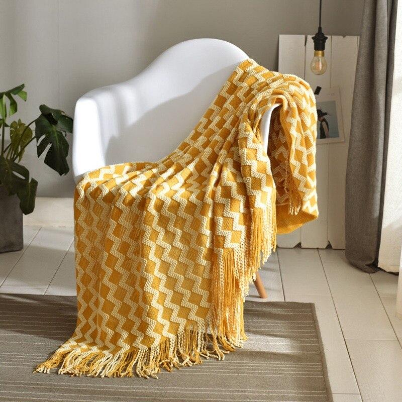 الأصفر الشمال محبوك رمي موضوع أريكة بطانية على أريكة تتحول لسرير منقوشة السفر التلفزيون متعددة الوظائف Nap البطانيات لينة سترة يغطي