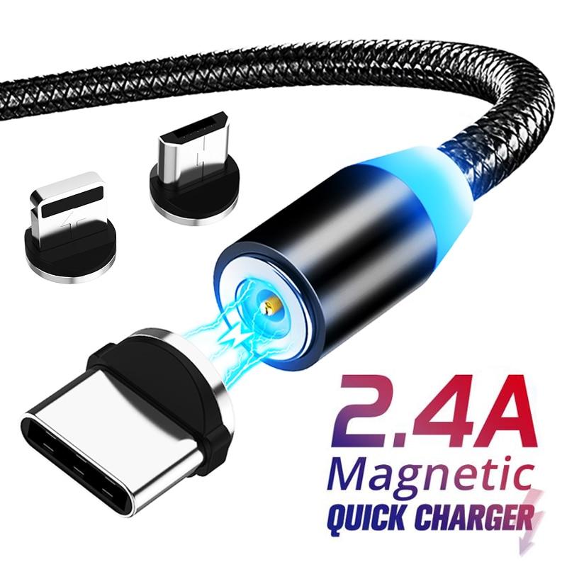 Cable magnético Micro USB de 8 pines para iPhone Samsung Lighting Cable de carga rápida Cable de datos Cable magnético cargador tipo C Cable de teléfono móvil