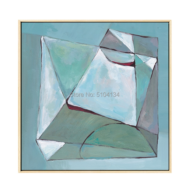 Diseño Simple artista pintado a mano geometría pintura al óleo sobre lienzo abstracto bloque moderno geometría pintura al óleo para sala de estar