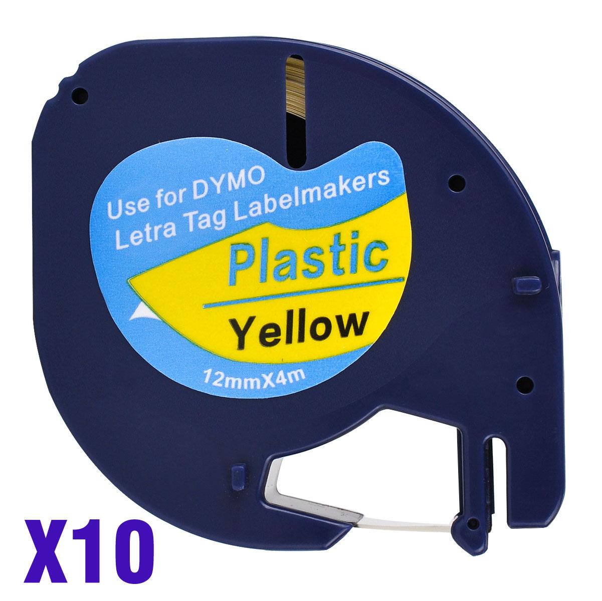10 متوافق Dymo LetraTag 91202 أسود على أصفر 12 مللي متر x 4 متر البلاستيك تسمية الأشرطة ل LT-100H ، LT-100T ، LT-110T ، QX 50 ، XR ، XM ،