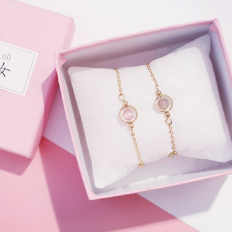 Bracelet élastique en perles porte-bonheur pour femmes et filles, bijou élastique, Style Simple, couleur or, à la mode, cadeau danniversaire