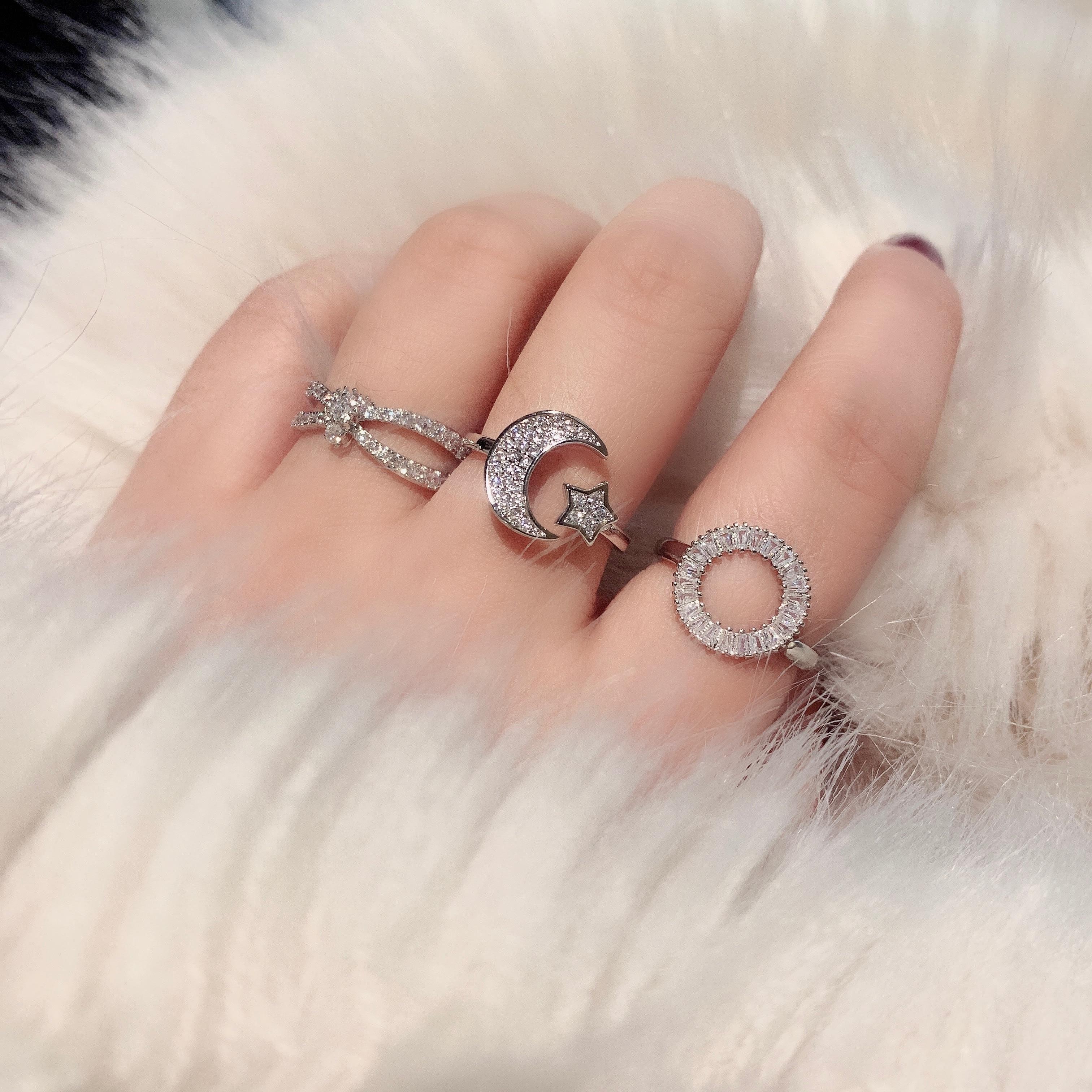 Anillo de diamante elegante que combina con todo, sencillo, estilo frío, personalidad...