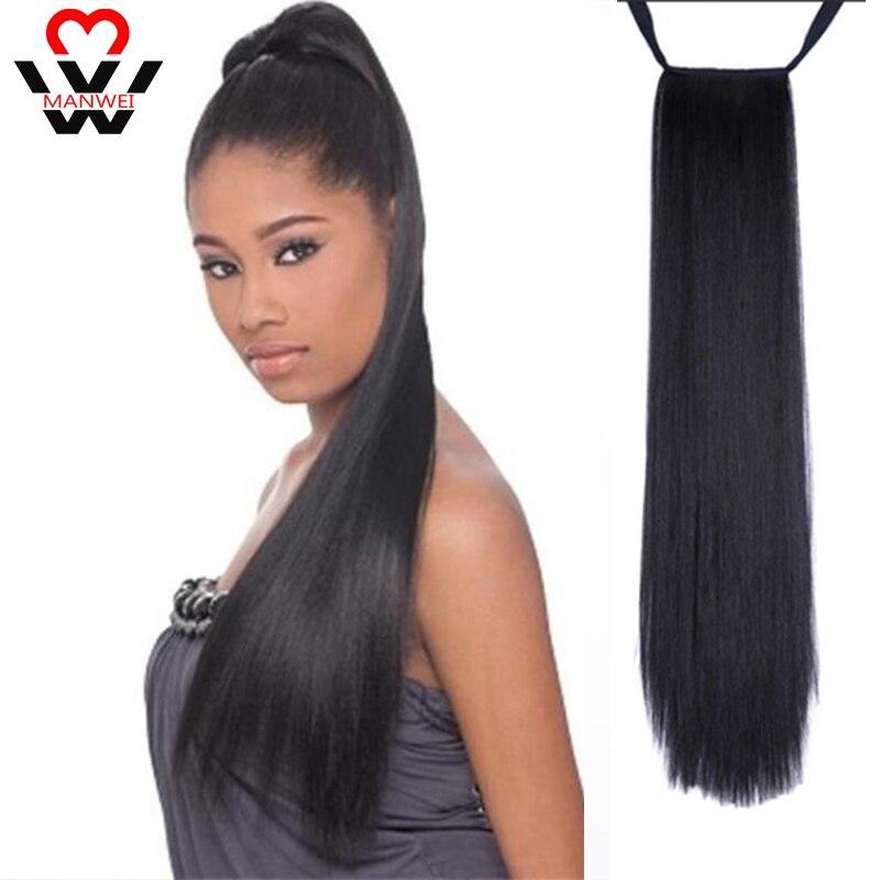 Mnawei 22 polegada cabelo sintético de fibra de alta temperatura cabelo longo em linha reta rabo de cavalo grampo em extensões do cabelo da cauda do pônei