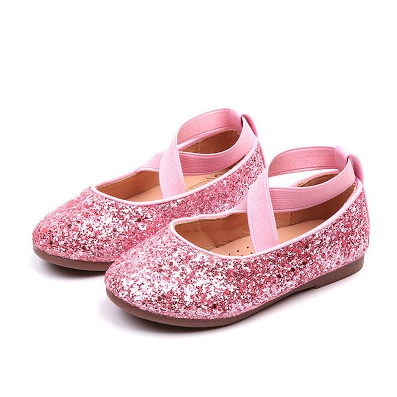 Zapatos planos de Ballet para niñas, zapatos de fiesta de baile para bebés, zapatos brillantes para niños, zapatos de princesa brillantes de oro, zapatos para niños de 3 a 12 años
