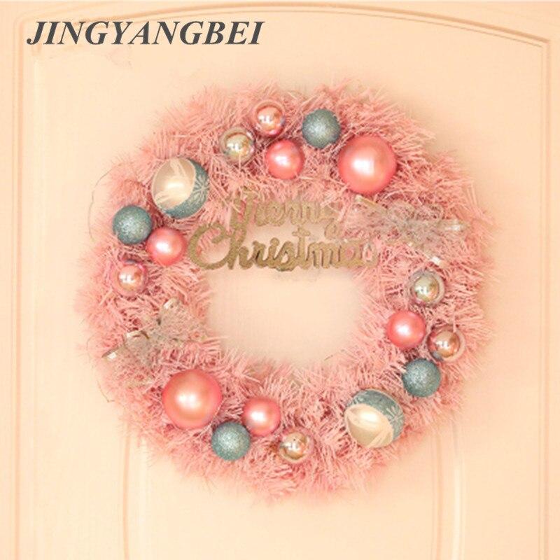 Guirnalda rosa de ratán de 2,7 m, decoración de árbol de Navidad, guirnalda de puerta, puerta de ratán, colgante para casa, vacaciones, fiesta, boda, decoración de ventana