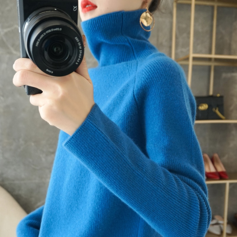 100% wool knitted women's sweater, soft long sleeved sweater, 6-color high neck for warmth, yuanbaozhen enlarge