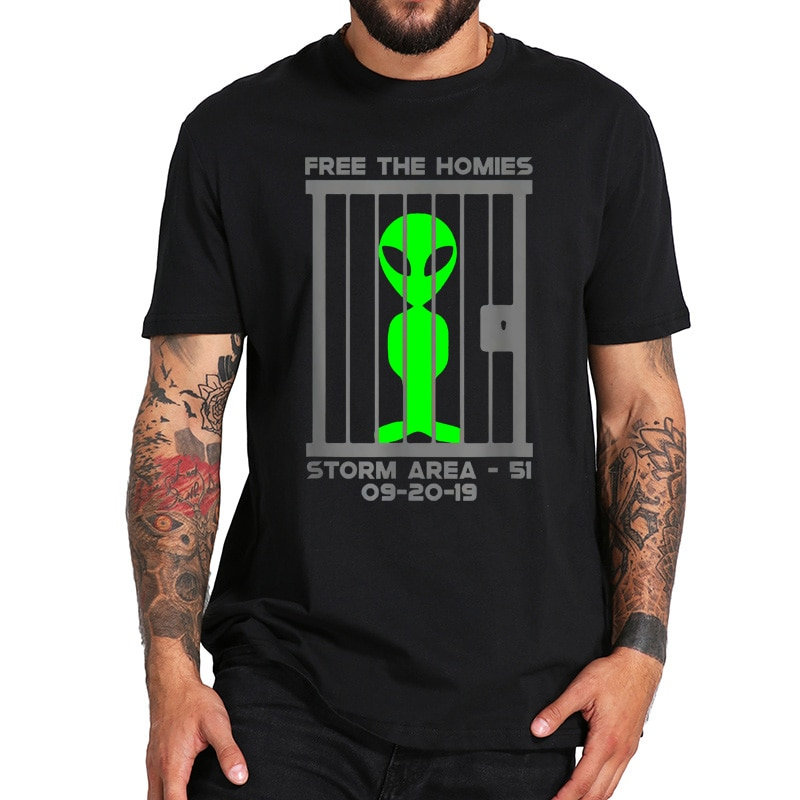Tamaño de la UE 100% algodón camiseta Área de tormenta 51 camiseta-libre de los Homies divertida camiseta cuello redondo suave camisa