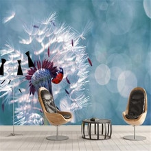 Papel pintado personalizado de fábrica milofi mural 3D diente de león de siete estrellas mariquita close-up TV pared de fondo
