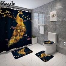 Doré paon impression tapis de salle de bain ensemble tapis de bain de toilette avec rideau de douche ensemble moderne décor à la maison salle de bain tapis de bain