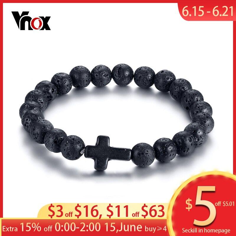 Vnox с вулканической энергией Лава камень черный красный браслеты с крестообразной подвеской для женщин мужчин Бусины В Стиле Йоги пара ювелирных изделий стрейч Pulseira
