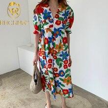 Fashion Sweet Women Floral Maxi Dress Short Sleeve V Neck Casual Loose Chic Dresses Female A Line print Dress Vestidos