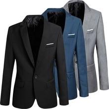 Men Slim Fit Office Blazer Jacket Fashion Solid Mens Suit Jacket Wedding Dress Coat Casual Business