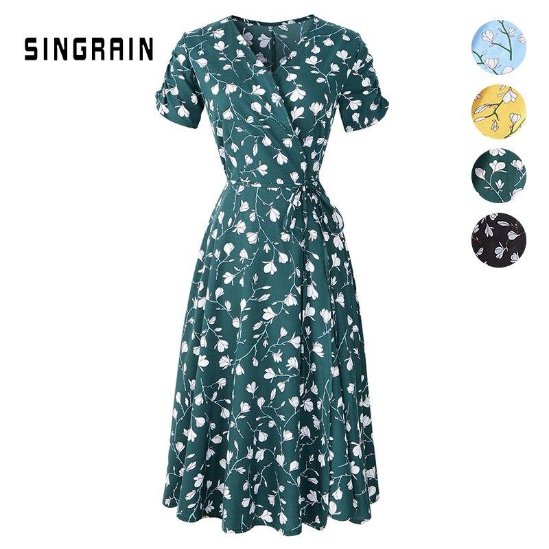 SINGRAIN женское шифоновое цветочным платье корейские платья богемное пляжное boho dress новое летнее бохо стиль