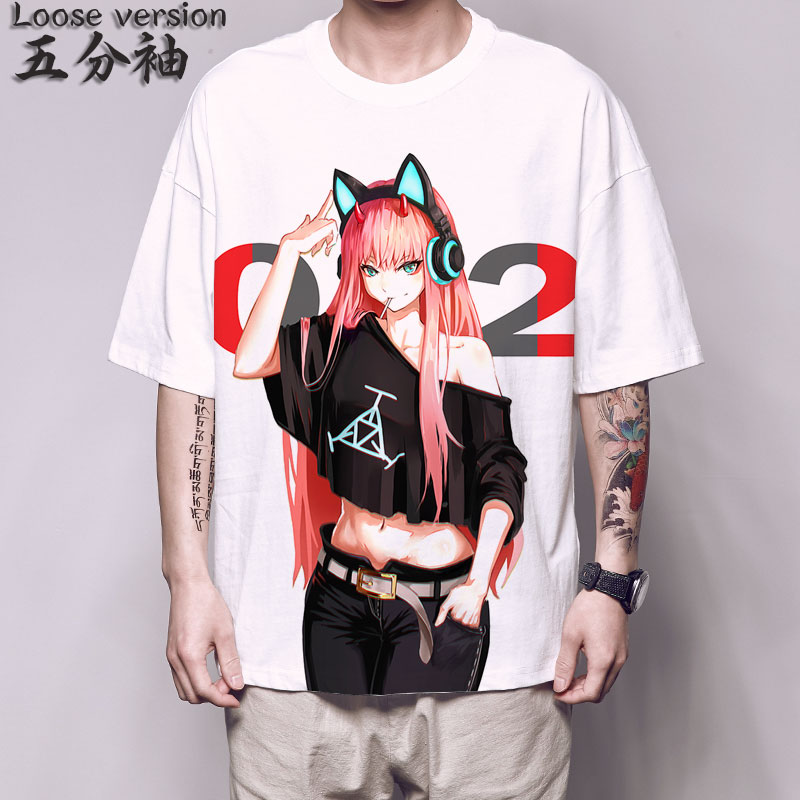 Anime querida no franxx t camisa querida no franxx zero dois camiseta meia manga harajuku streetwear hip hop camiseta