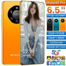 Mate40 Pro Smartphone 6.5Inch Full Screen Deca Core 5200mAh 12GB 512GB 5G LTE Network Mobile Phone