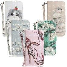 Кожаный чехол-кошелек с объемным цветком для Xiaomi Mi 9T A2 6X Pocophone F1 Redmi K20 5 Plus 6A 7A Go Note 6 7 Pro, чехол с откидной крышкой и рисунком