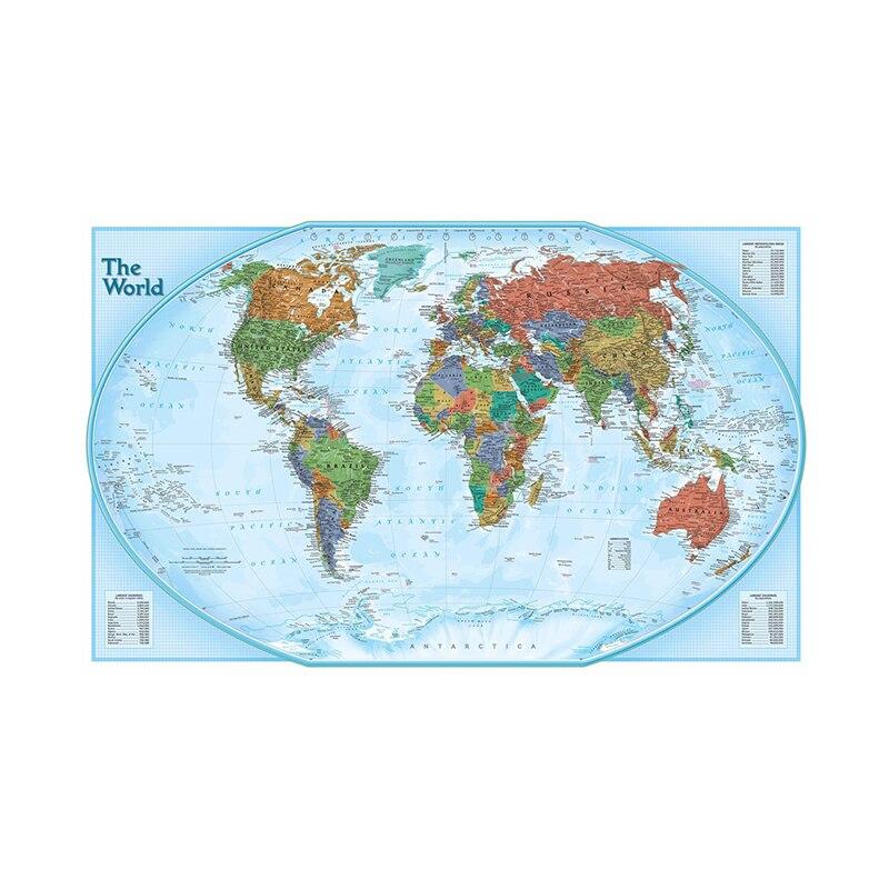 Карта мира 60x90 см, Карта мира, издание 2011, Карта мира, Нетканая настенная живопись для детей, образование, школа, офис, Декор