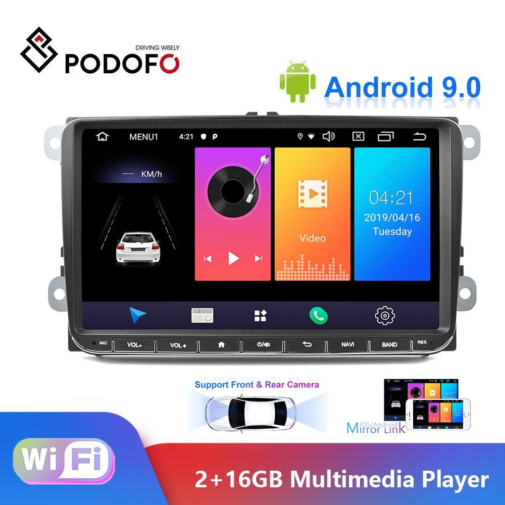 Podofo أندرويد 9.0 سيارة راديو ستيريو 9 ''بالسعة شاشة تعمل باللمس لتحديد المواقع بلوتوث الملاحة 2G + 16G ذاكرة ل باسات جولف MK5 MK6