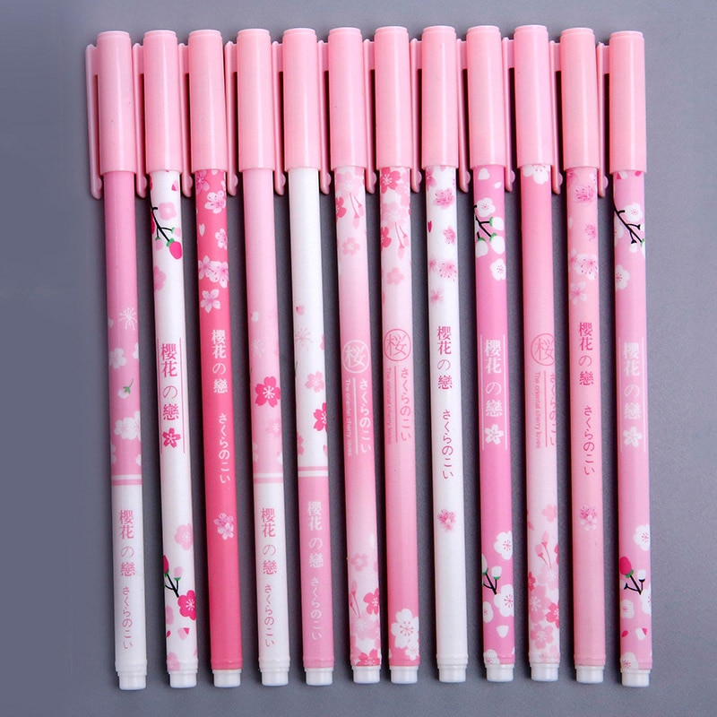 Фото - 6pcs 0.38mm Pink Cherry Blossoms Random Gel Pen Signature Pen Black Ink School Office Supply Promotional Gift Student Stationery rescue ink rescue ink