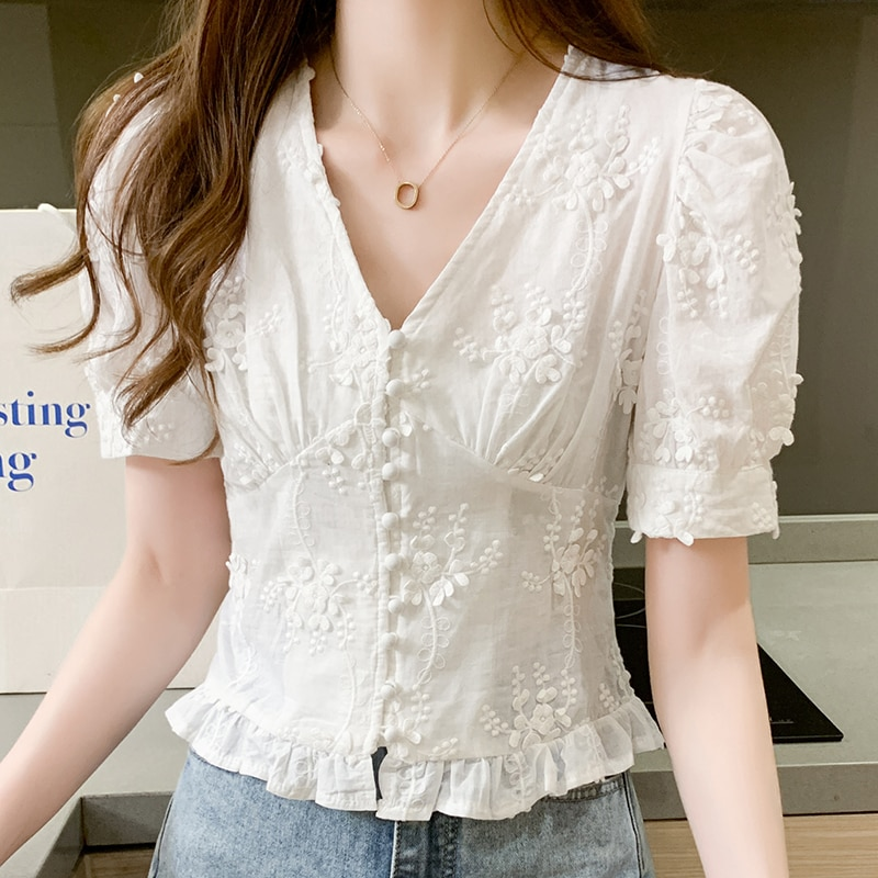 summer blouses women v-neck hubble-bubble sleeve female shirts 621#