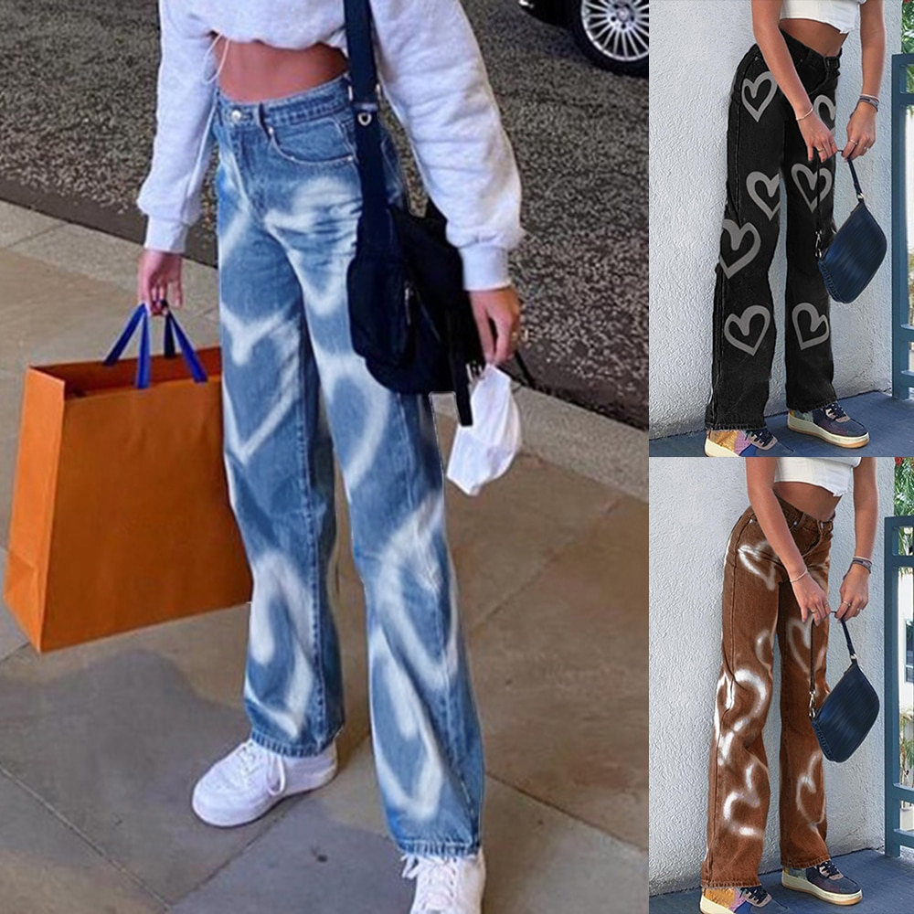 Vintage Heart Printed Baggy Jeans Women High Waist Harajuku Aesthetic Mom Jeans Denim Streetwear  Denim Trousers