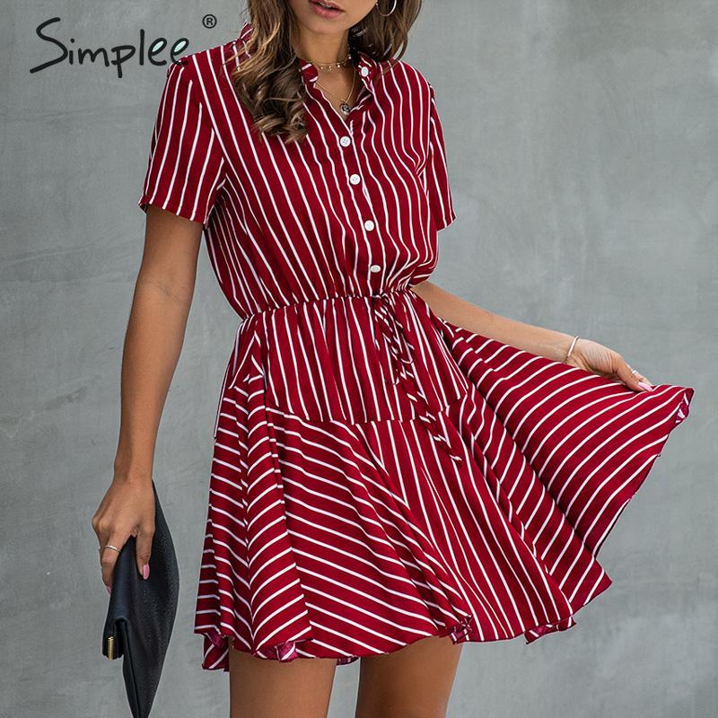 Simplee de talla grande a rayas mujeres vestido Casual algodón botón alto wasit a-line vestido de verano laicos Oficina solapa mini vestido de gran tamaño