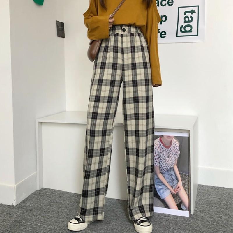 Женские клетчатые брюки HOUZHOU, прямые клетчатые брюки в Корейском стиле, прямые широкие брюки, винтажные брюки для женщин