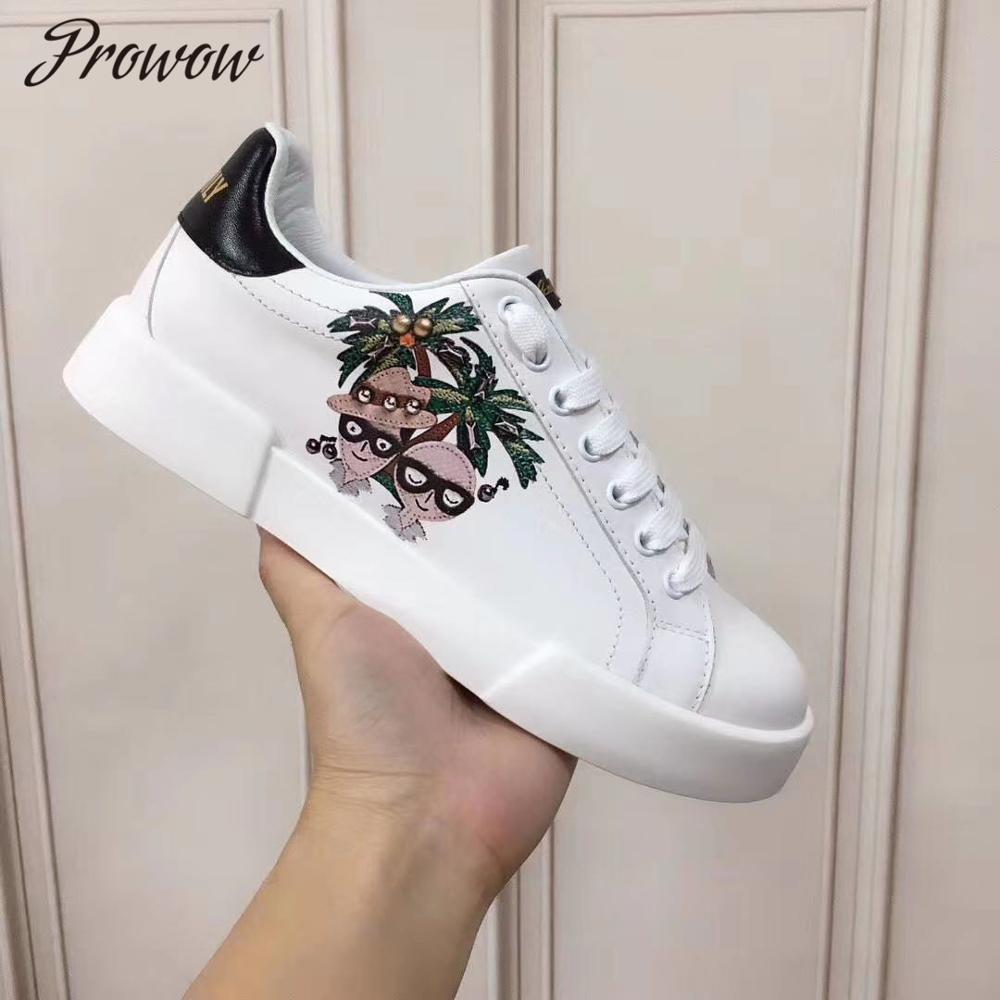 Prowow, zapatos de otoño invierno de piel auténtica en forma de corazón de Metal Deco, zapatos blancos de punta redonda, zapatos informales con cordones, zapatos planos de lujo para mujer