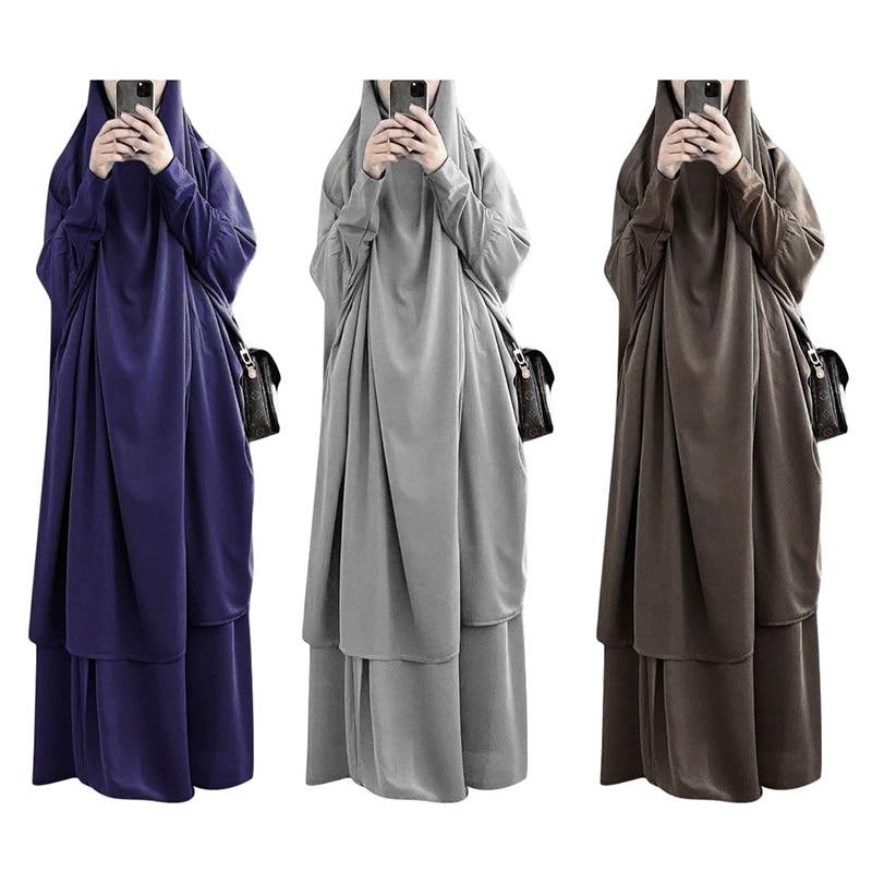 فستان مسلمات بقلنسوة للعيد ملابس صلاة جلباب عباية طويلة خيمار رمضان فستان عبايات طقم تنورة ملابس إسلامية نقاب