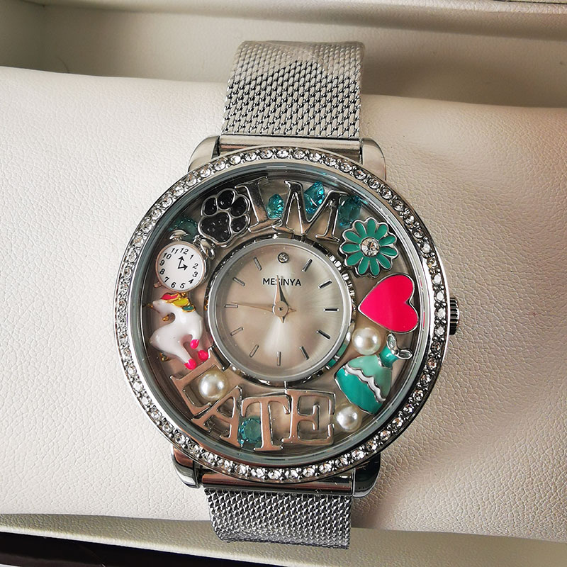 Living Glass Floating Charm Locket Watch with Stainless Steel Mesh Band ,1 Piece enlarge