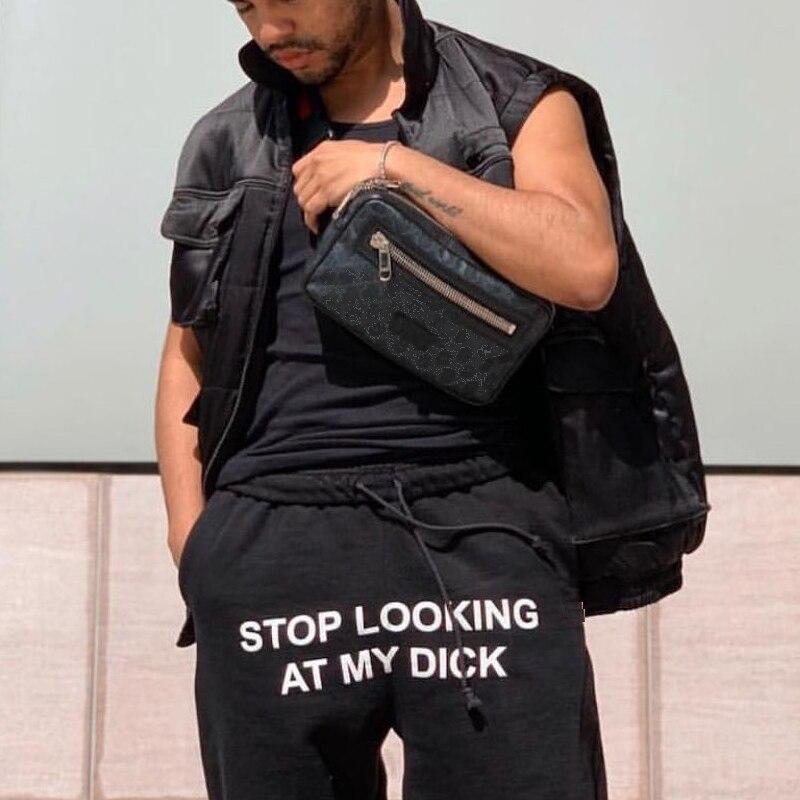 Deja de mirar a mi pene, pantalones de chándal para hombres y mujeres, pantalones para correr de cintura alta, pantalón de carga negro, pantalones de chándal casuales de Hip Hop, producto en oferta