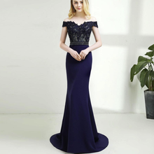 9648# Short Sleeve  Sheath Off-Shoulde Sweep Train Lace Satin Backless Bridesmaid Dress Evening Dres